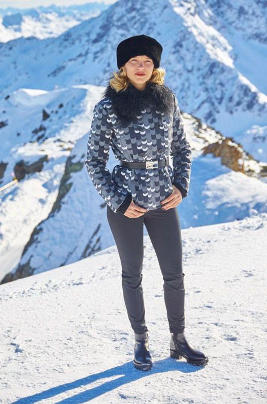 """Léa Seydoux en tenue de ski sur le tournage de """"Spectre"""", le prochain James Bond, en Autriche, le 8 septembre 2015"""