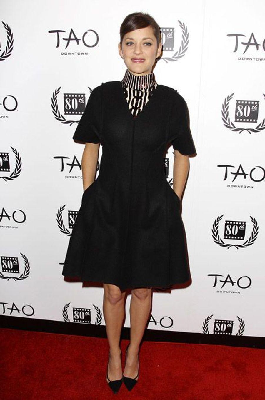 Marion Cotillard assiste à la cérémonie New York Film Critics où elle a été sacrée meilleure actrice 2014, le 5 janvier à New York