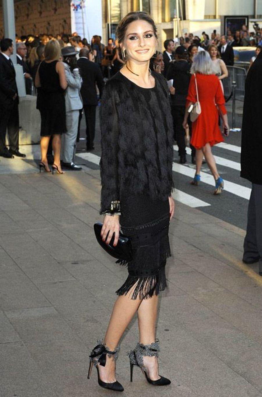 La styliste Olivia Palermo en Aquazurra pendant la Fashion Week de New York, le 2 juin 2014