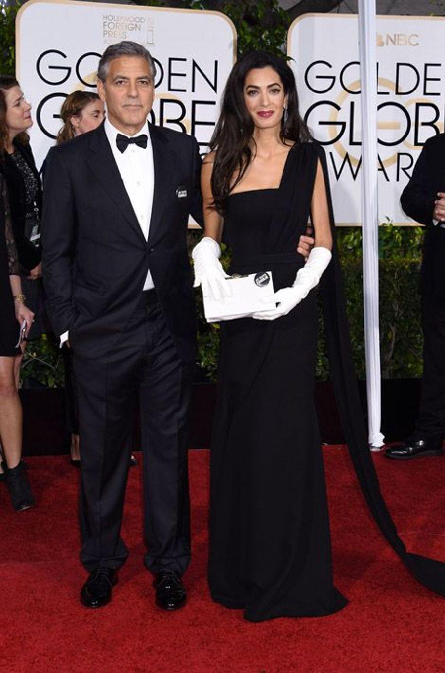 Amal Alamuddin en Christian Dior aux Golden Globes, le 11 janvier 2015