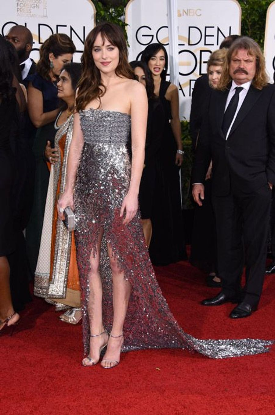 Dakota Johnson en Chanel Couture aux Golden Globes, le 11 janvier 2015