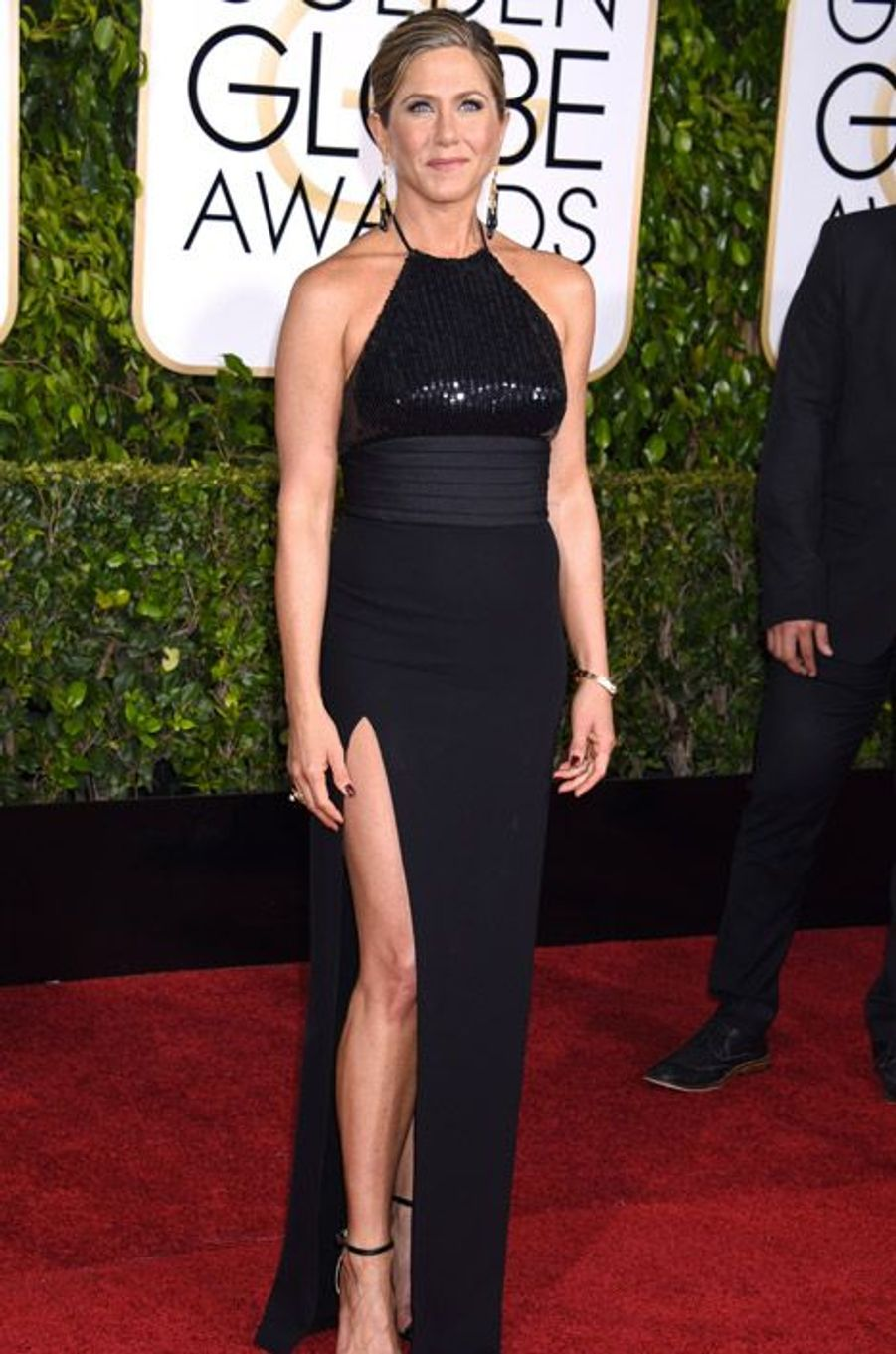 Jennifer Aniston en Saint Laurent aux Golden Globes, le 11 janvier 2015