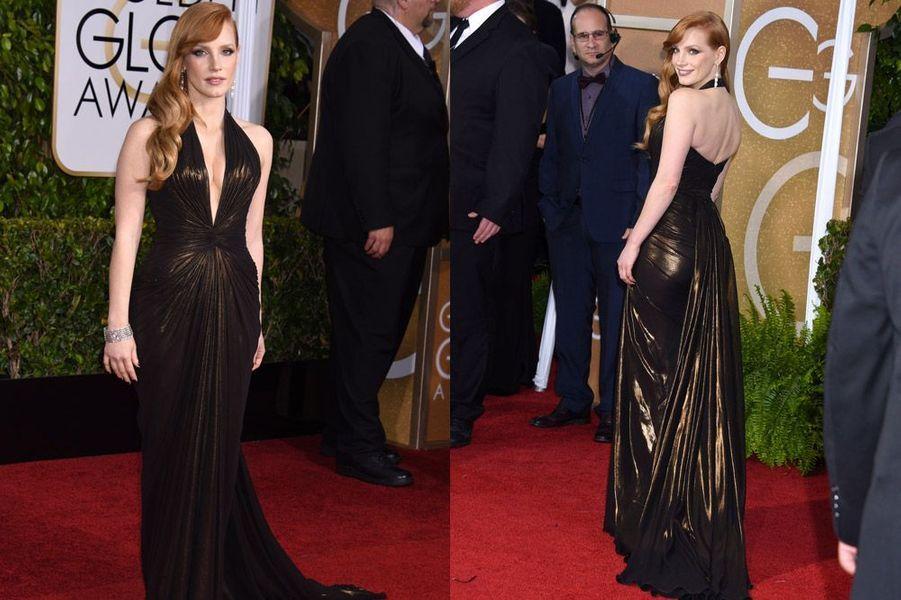 Jessica Chastain en Atelier Versace aux Golden Globes, le 11 janvier 2015
