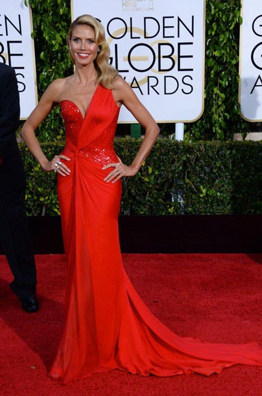 Le mannequin Heidi Klum en Atelier Versace aux Golden Globes, le 11 janvier 2015