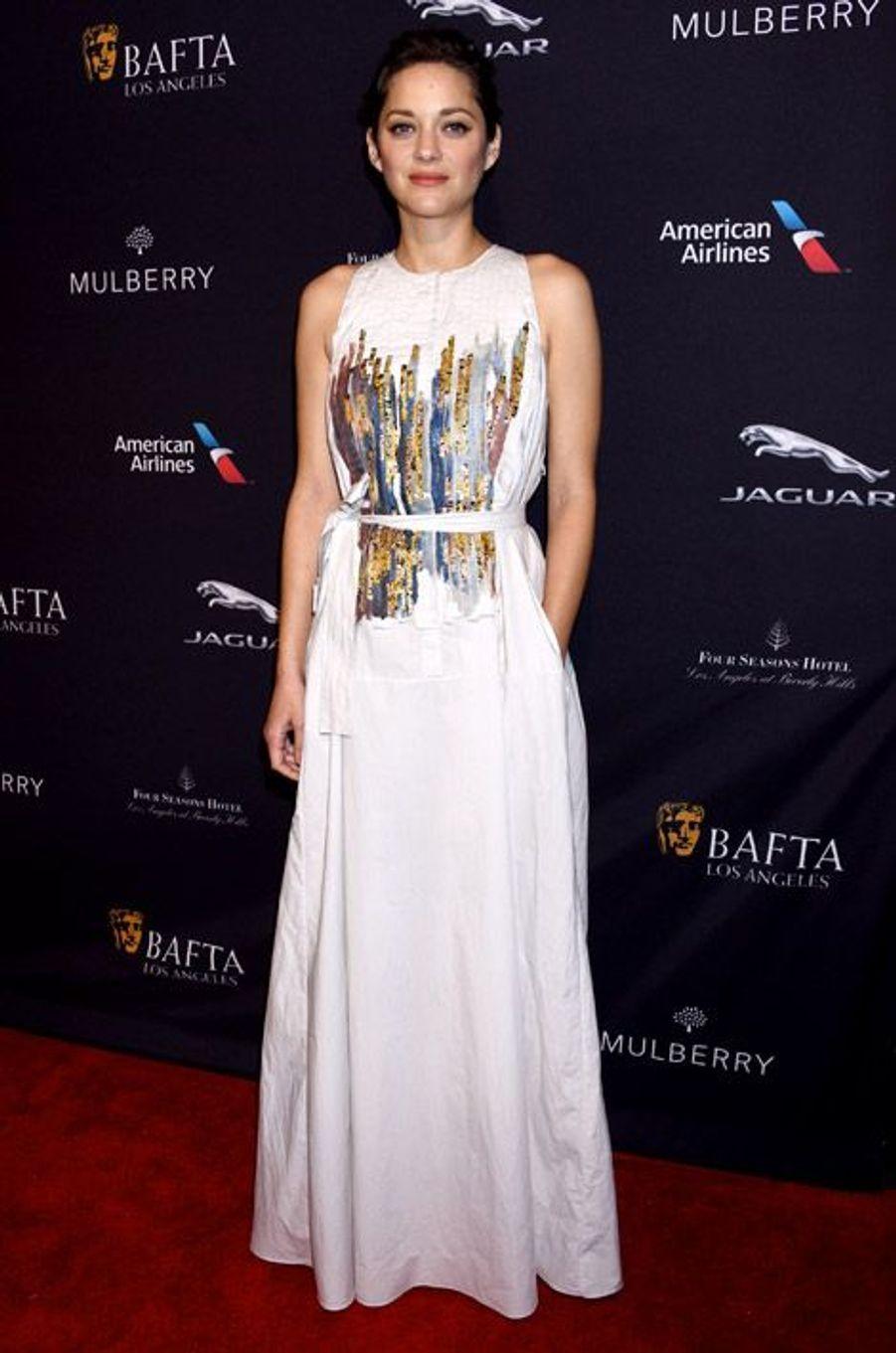 Marion Cotillard en Bottega Veneta lors d'une soirée pré-BAFTA à Beverly Hills, le 10 janvier 2015
