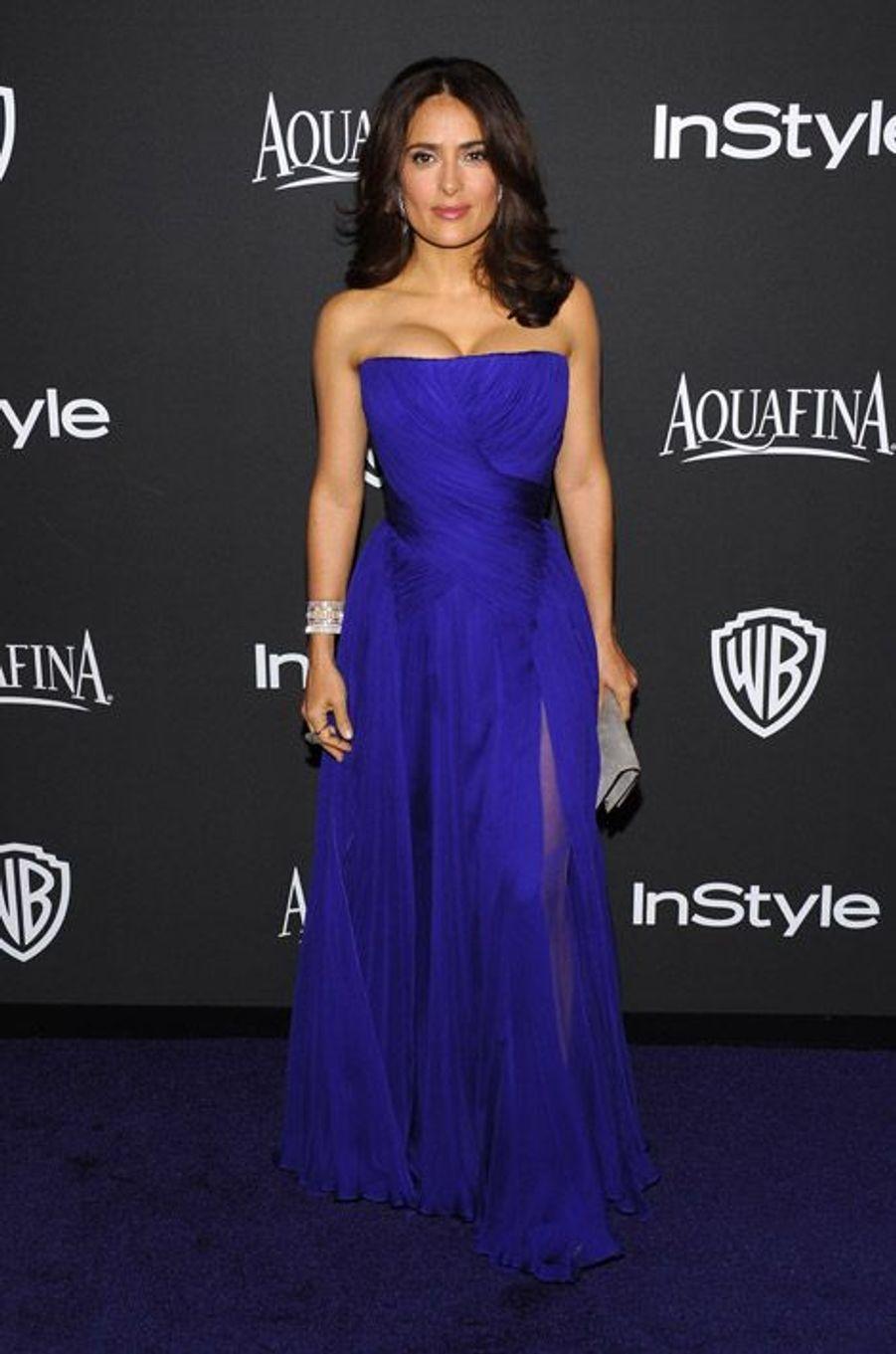 Salma Hayek en Gucci Premiere à la soirée InStyle organisée avant les Golden Globes, le 11 janvier 2015