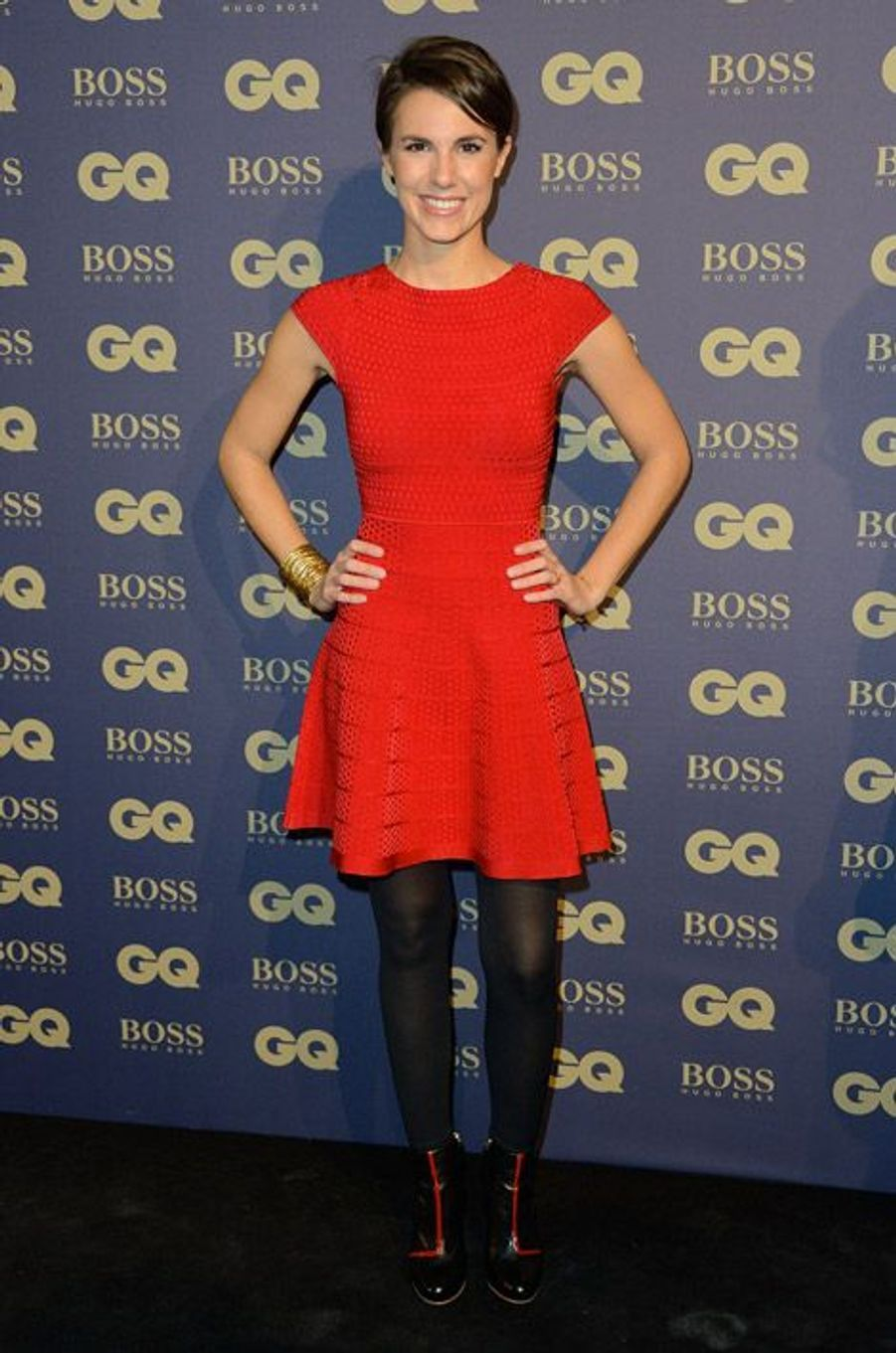 La journaliste Emilie Besse lors d ela soirée GQ à Paris, le 19 novembre 2014