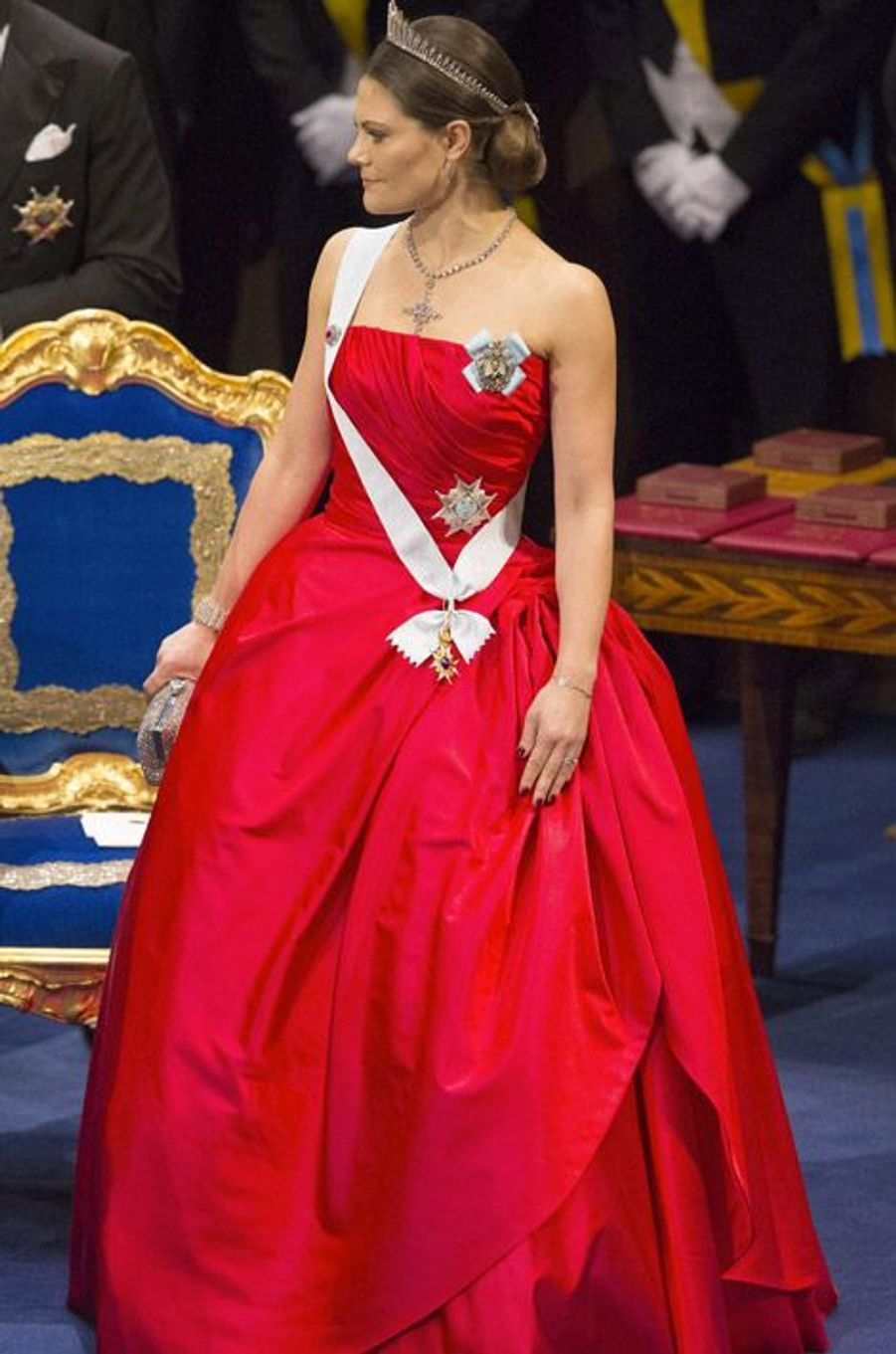 La princesse Victoria de Suède à Stockholm pour la remise des prix Nobel le 10 décembre 2014