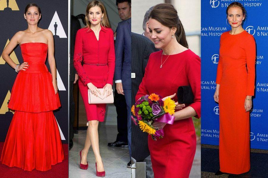 Marion Cotillard, Letizia d'Espagne, Kate Midleton, Cameron Diaz : les stars adoptent le rouge en ville ou sur tapis rouge !