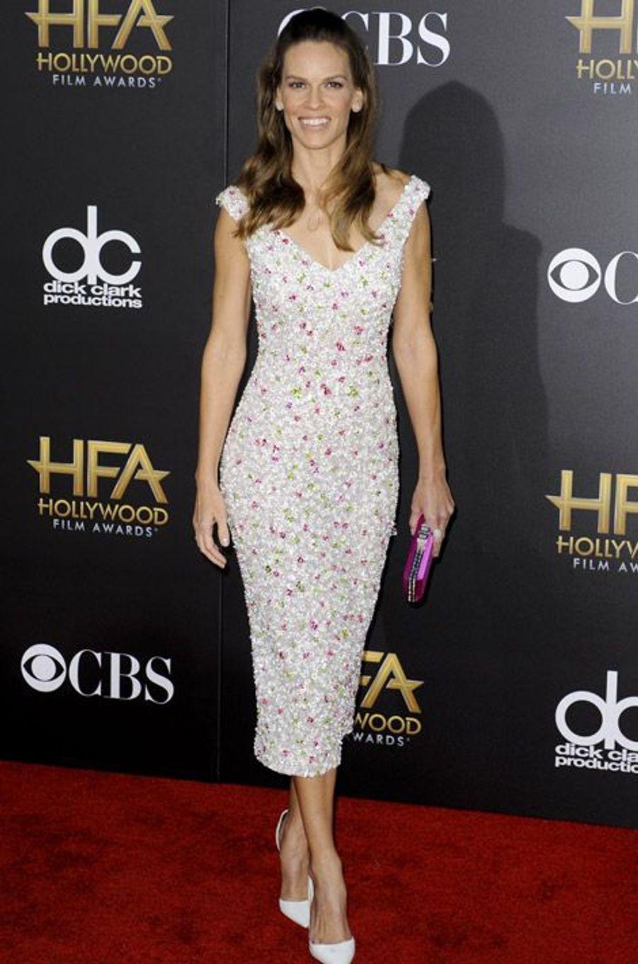 L'actrice Hilary Swank en Nicholas Oakwell lors de la cérémonie Hollywood film Awards, à Los Angeles le 15 novembre 2014