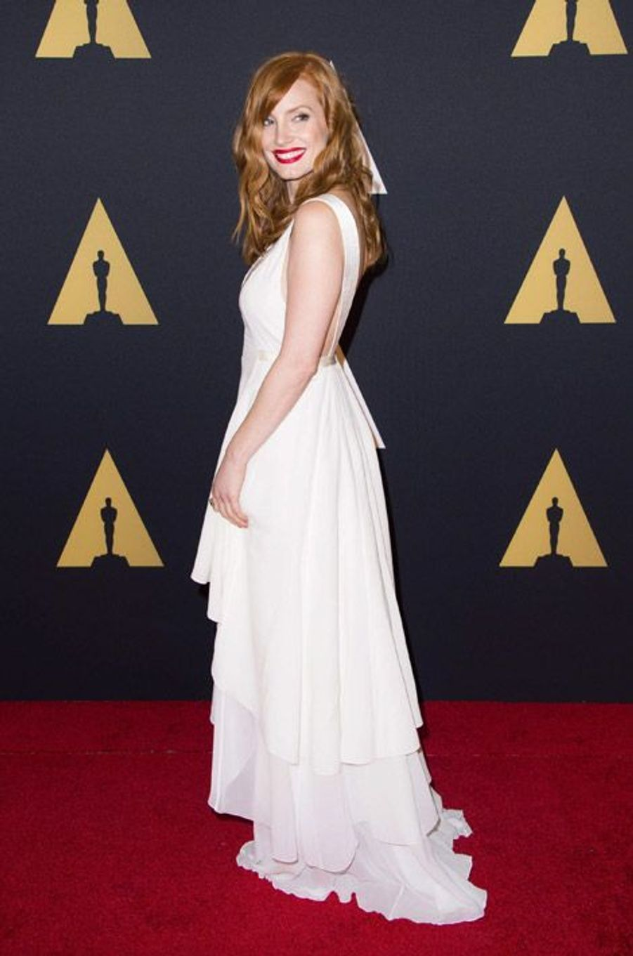 L'actrice Jessica Chastain en Nina Ricci lors du 6eme gala Annual Governors Awards à Hollywood