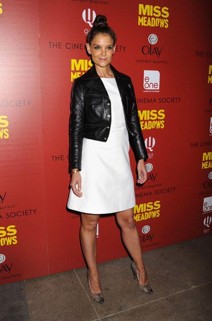 """L'actrice Katie Holmes lors de la projection du film """"Miss Meadows"""" à New York, le 12 novembre 2014"""