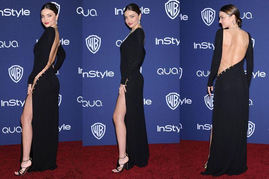 Le mannequin Miranda Kerr en Emilio Pucci lors de l'afterparty des Golden Globes à Los Angeles, le 12 janvier 2014