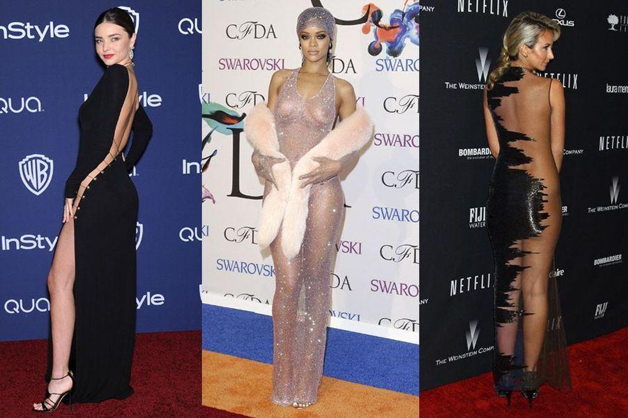 Transparence, décolletés, robes fendues : toutes les tenues les plus osées des stars en 2014