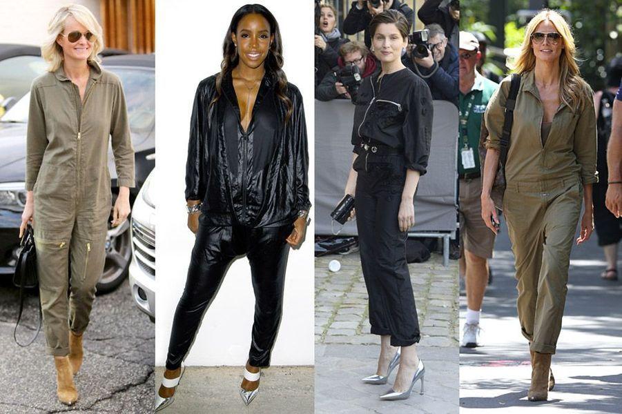 Tendance 2015 : la combinaison aviateur adoptée par Laeticia Hallyday, Kelly Rowland (Barbara Bui), Laetitia Casta (Dior) et Heidi Klum