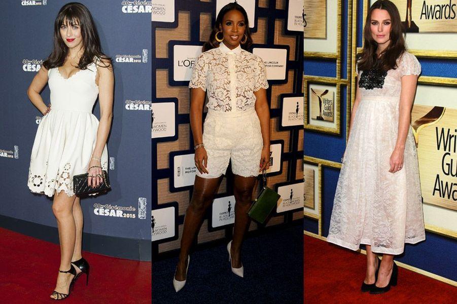 Tendance 2015 : la dentelle blanche a déjà fait succomber Nolwenn Leroy, Kelly Rowland, Keira Knightley