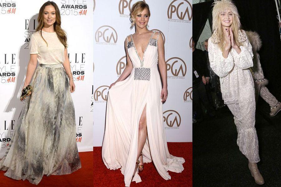 Tendance 2015 : la robe gipsy chic à laquelle ont succombé Olivia Wilde (H&M Conscious), Jennifer Lawrence (Prada) et Gigi Hadid (Anna Sui)