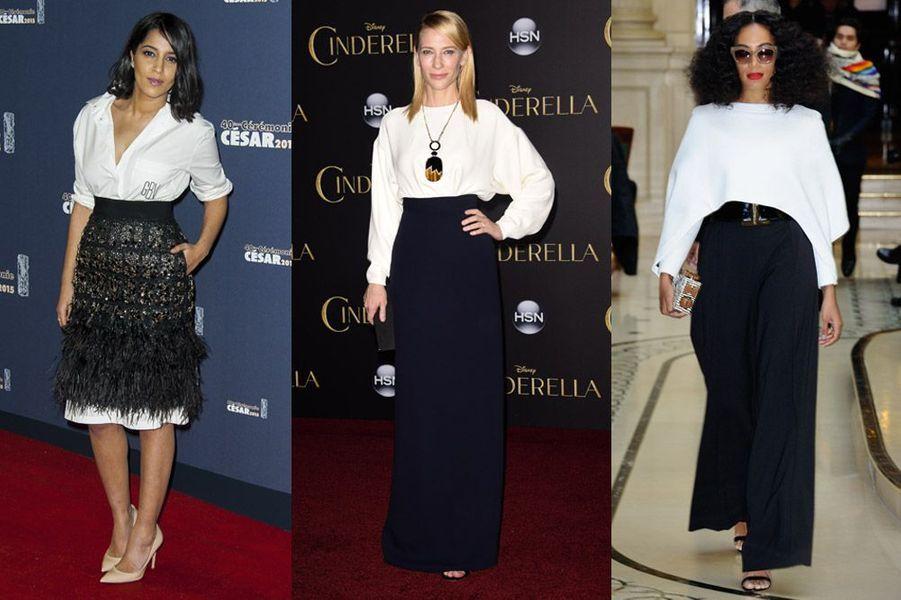 Tendance 2015 : le noir et blanc déjà porté par Leila Bekhti, Solange Knowles (Balmain) et Cate Blanchett (Céline)