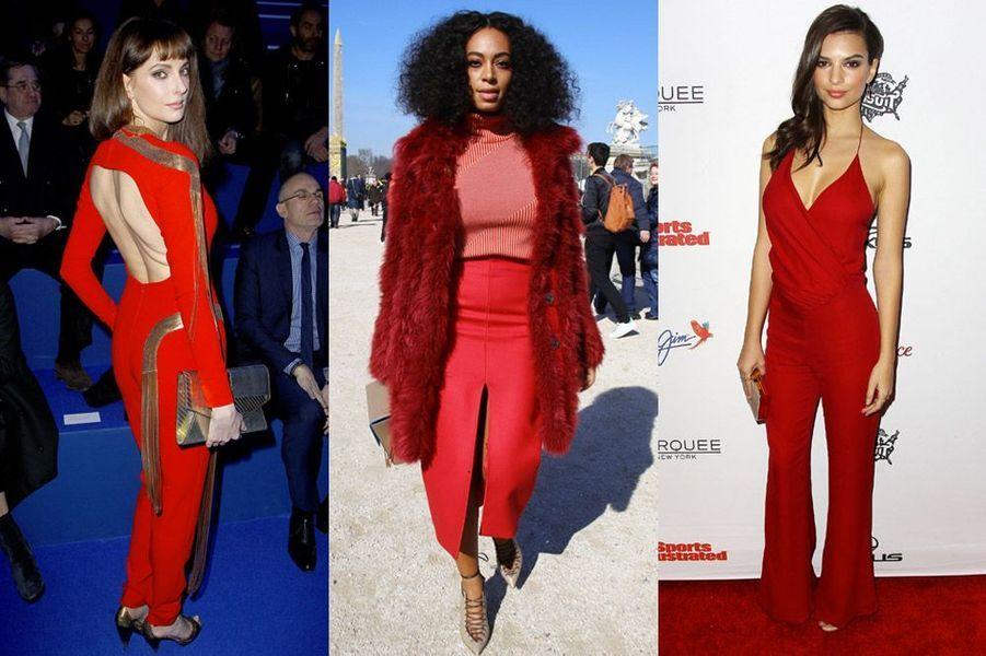 Tendance 2015 : le rouge glamour en vue chez Frédérique Bel, Solange Knowles (Carven) et Emily Ratajkowski