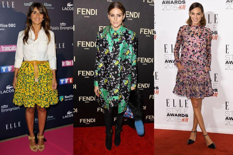 Tendance 2015 : les imprimés fleuris ont déjà séduit Géraldine Nakache (Michael Kors), Olivia Palermo (Fendi) et Alexa Chung