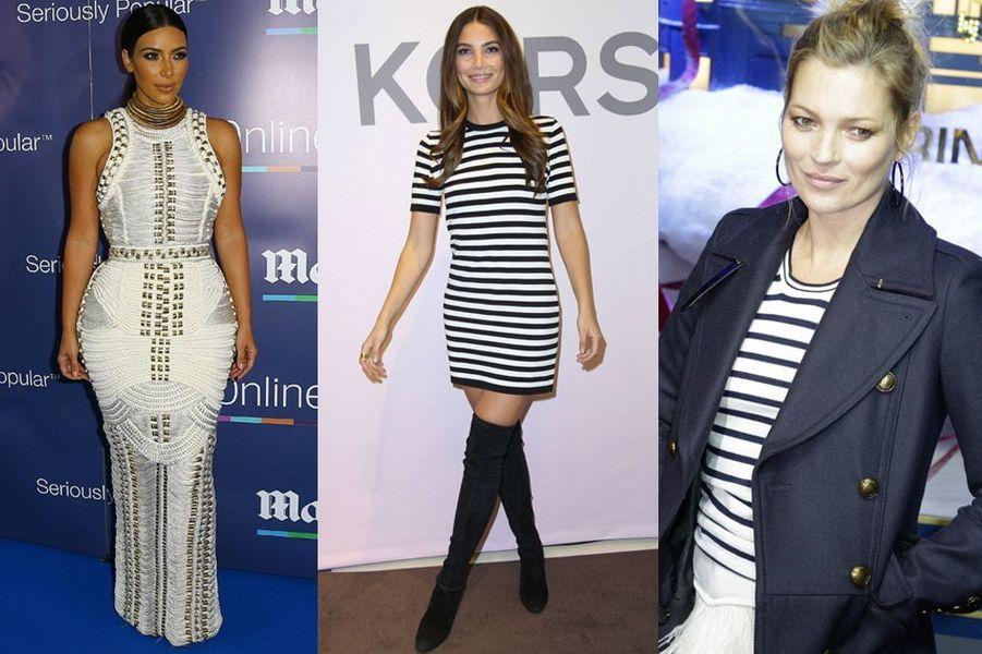 Tendance 2015 : les inspirations navy de Kim Kardashian (Balmain), Lily Aldridge (Michael Kors) et Kate Moss