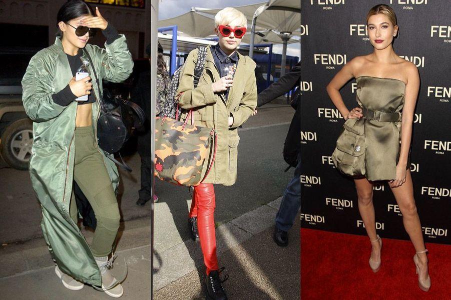 Tendance 2015 : les looks militaires de Kylie Jenner, Miley Cyrus et Hailey Baldwin