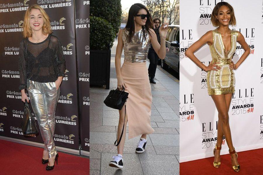 Tendance 2015 : les matières métallisées or ou argent déjà portées par l'actrice française Alice Isaaz, Kendall Jenner, Jourdan Dunn