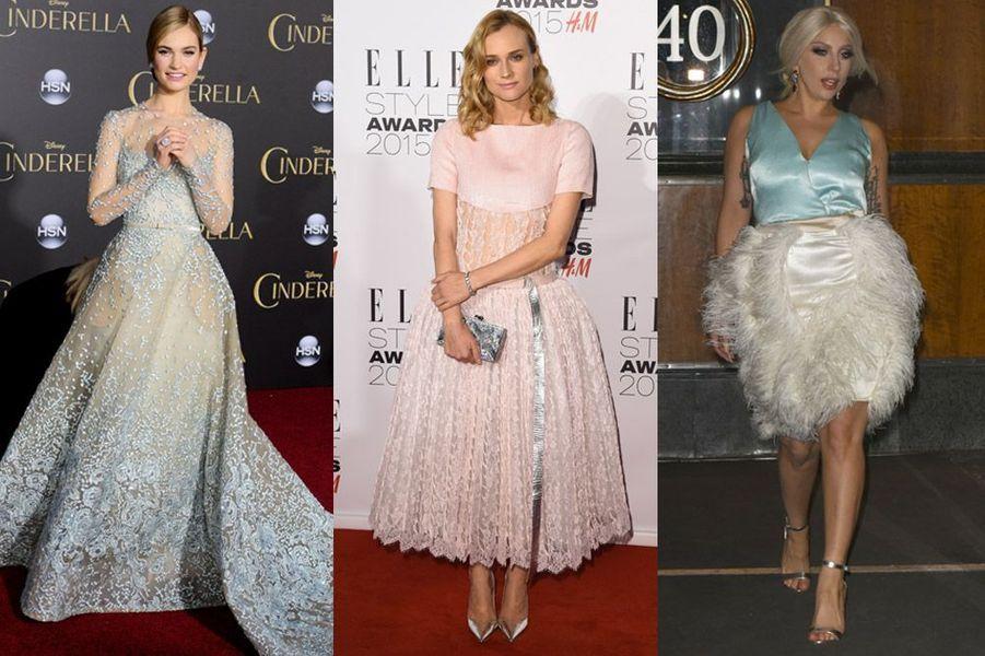 Tendance 2015 : les robes de bal de Lily James (Elie Saab), Diane Kruger (Chanel) et Lady Gaga