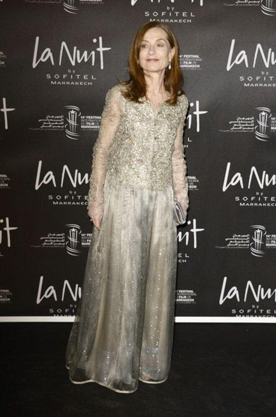 L'actrice Isabelle Huppert lors du festival international du film de Marrakech le 5 décembre 2014