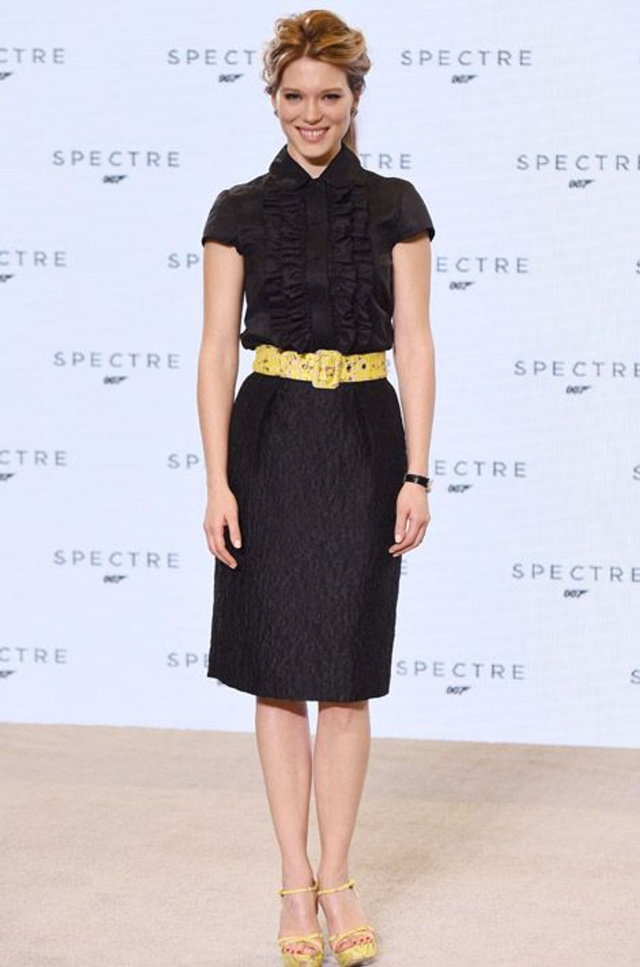 """L'actrice Léa Seydoux, en Miu Miu, à la présentation du prochain James Bond, """"Spectre"""", à Londres, le 4 décembre 2014"""
