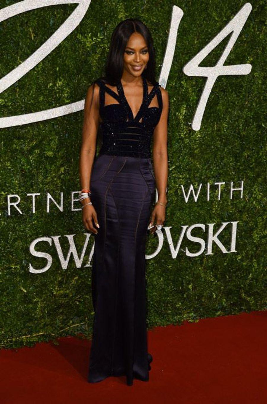 L'actrice Naomi Campbell à la soirée British Fashion Awards à Londres, le 1er décembre 2014