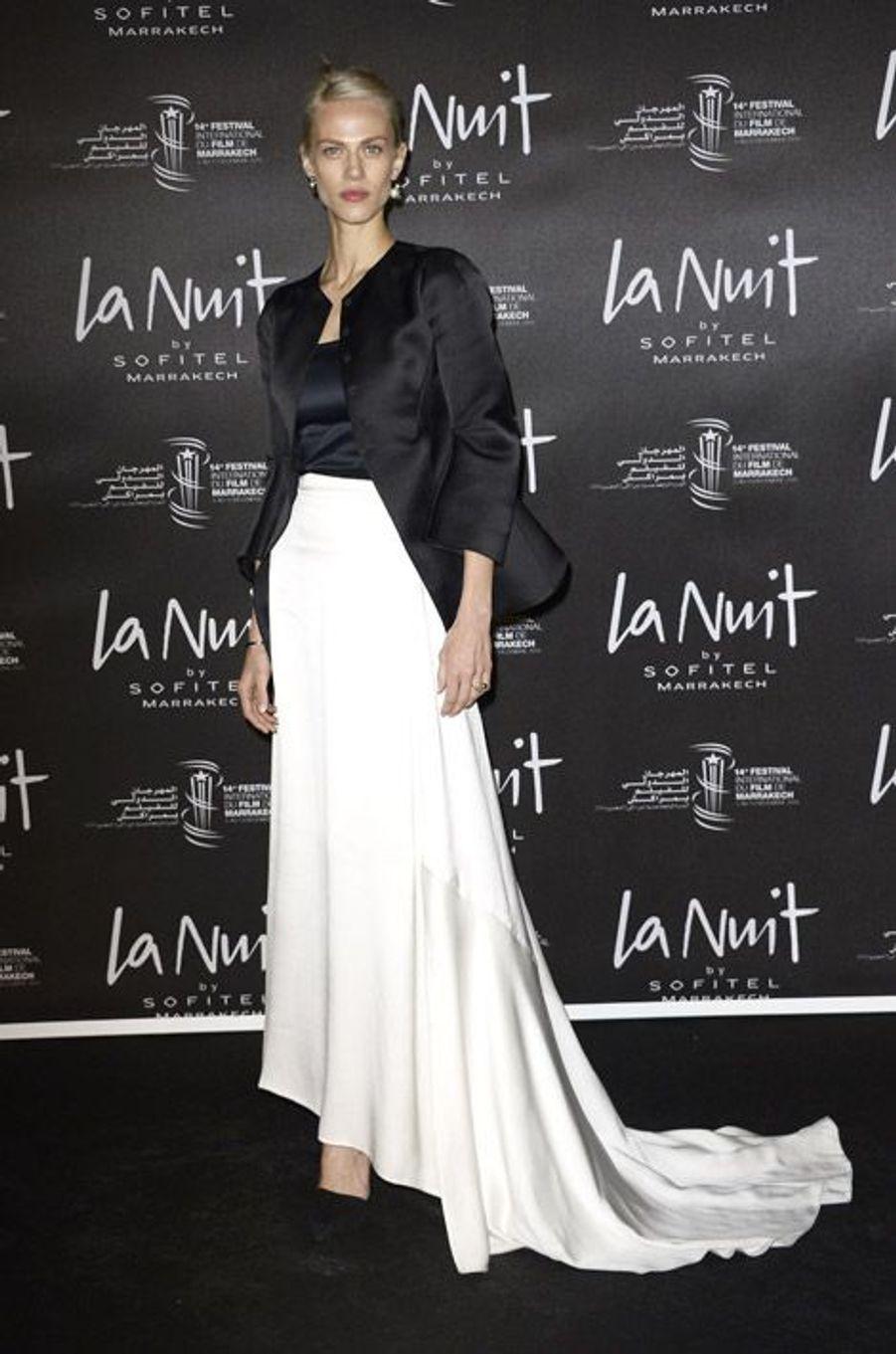 Le mannequin français Aymeline Valade lors du festival international du film de Marrakech le 5 décembre 2014