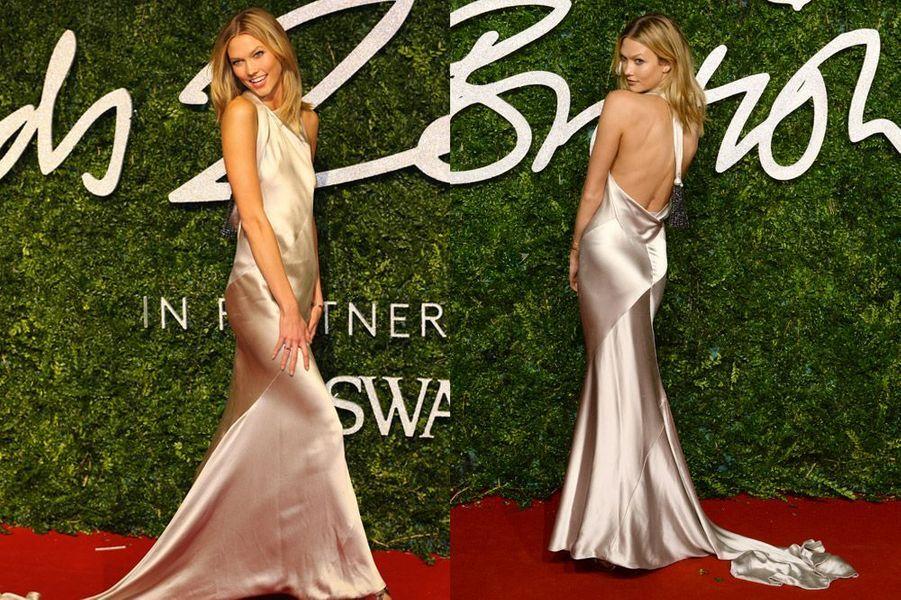 Le mannequin Karli Kloss à la cérémonie des British Fashion Awards, à Londres, le 1er décembre 2014