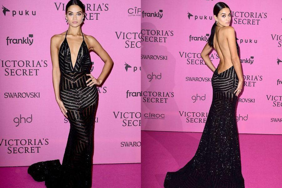 Le mannequin Shanina Shaik à Londres le 2 décembre 2014 après le show Victoria's Secret