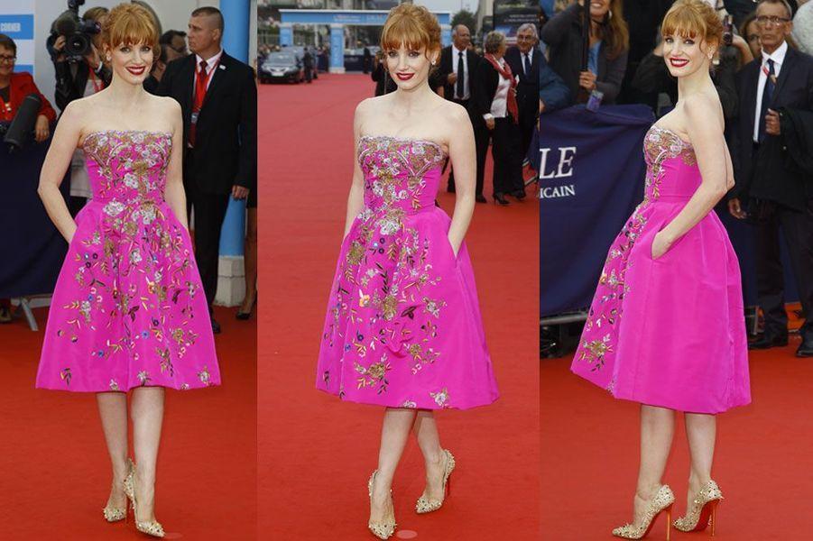 De la couleur : l'actrice américaine Jessica Chastain en Oscar de la Renta, récompensée lors du festival du cinéma américain de Deauville, le 5...