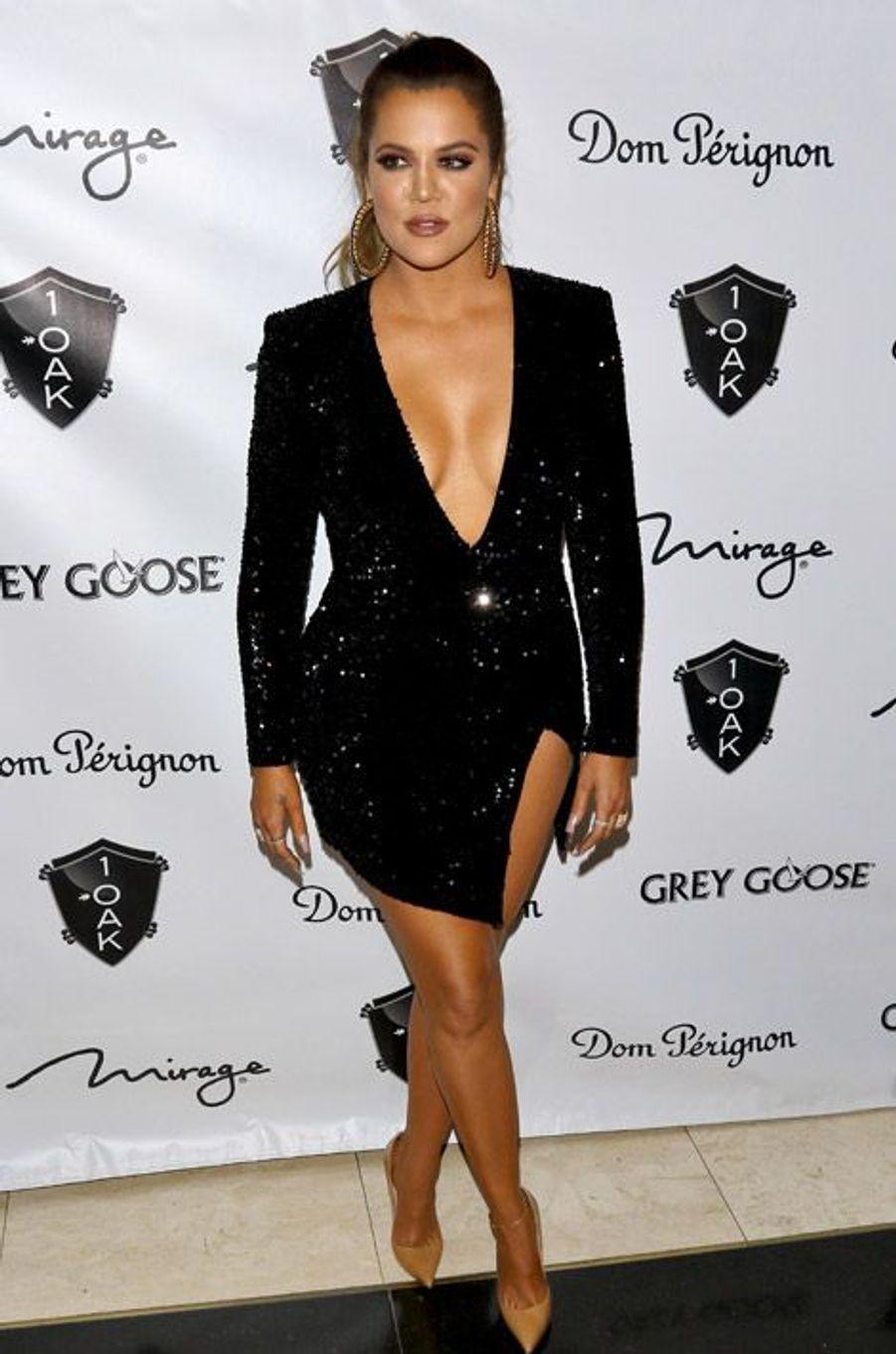 La star de la téléréalité Khloe Kerdashianfête le jour de l'an à Las Vegas, le 31 décembre 2014
