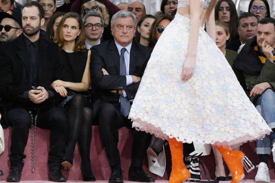 Benjamin Millepied et Natalie Portman au premier rang du défilé Dior