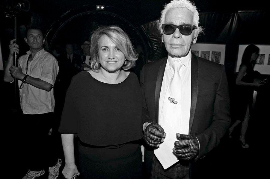 Silvia Venturini Fendi et son ami Karl Lagerfeld, directeurs artistiques de Fendi