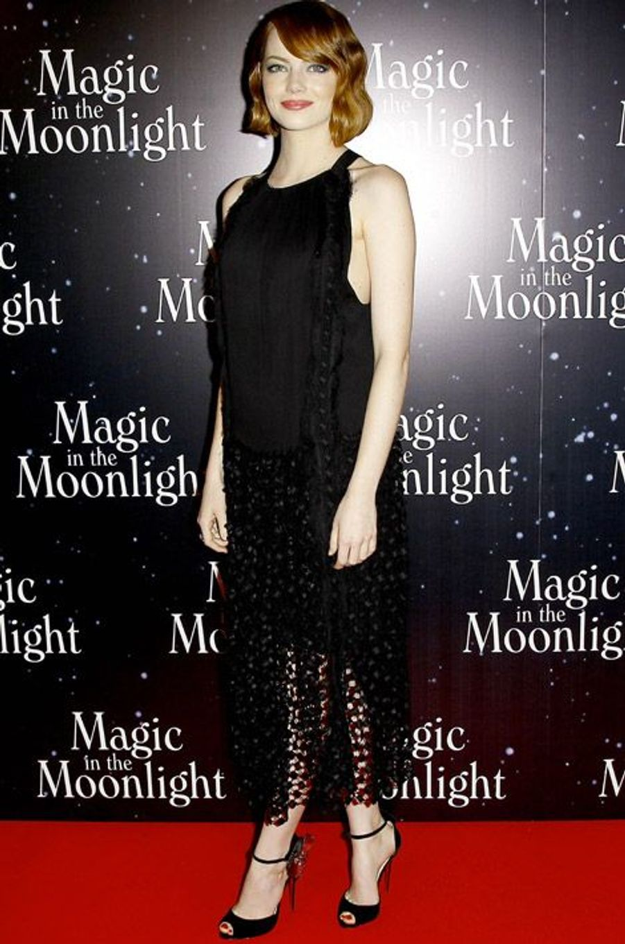 L'actrice Emma Stone en Chloé, lors de l'avant-première de Magic in the Moonlight, à Paris, le 11 septembre 2014