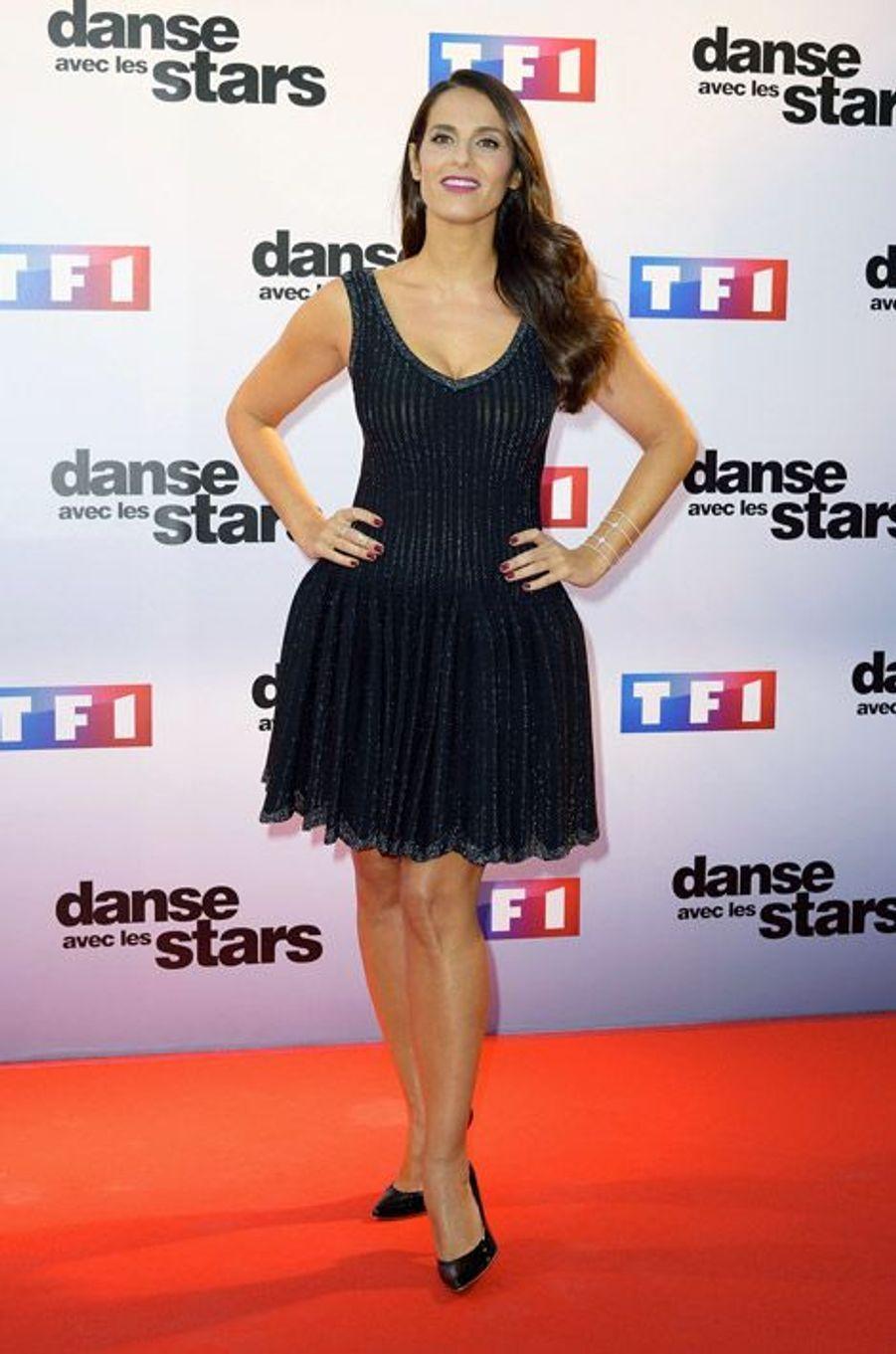 La chanteuse Elisa Tovati lors de la conférence de presse de Danse avec les stars 5, le 10 septembre 2014 à Paris