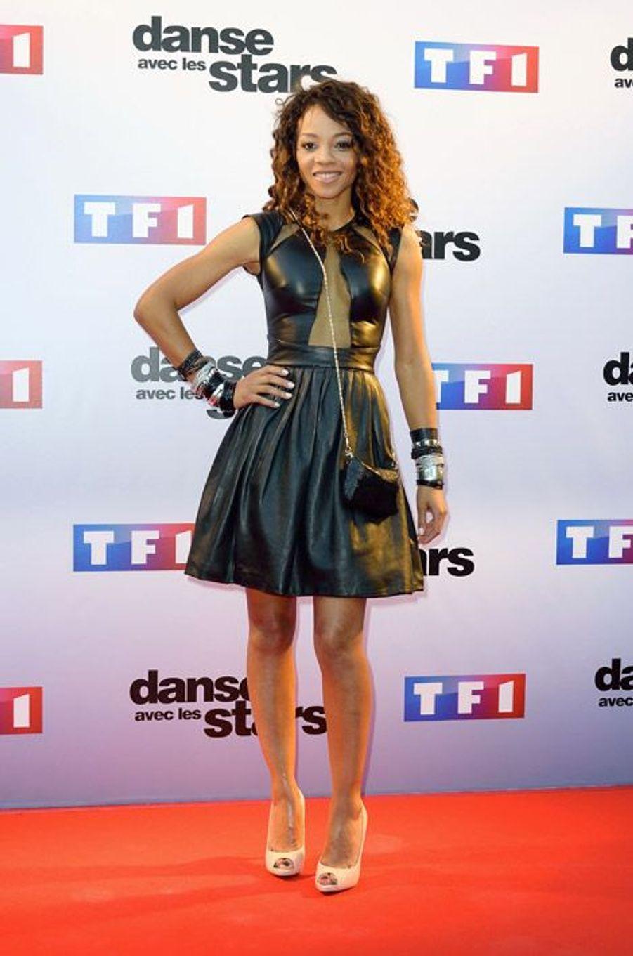 La chanteuse Louisy Joseph lors de la conférence de presse de Danse avec les stars 5, le 10 septembre 2014 à Paris