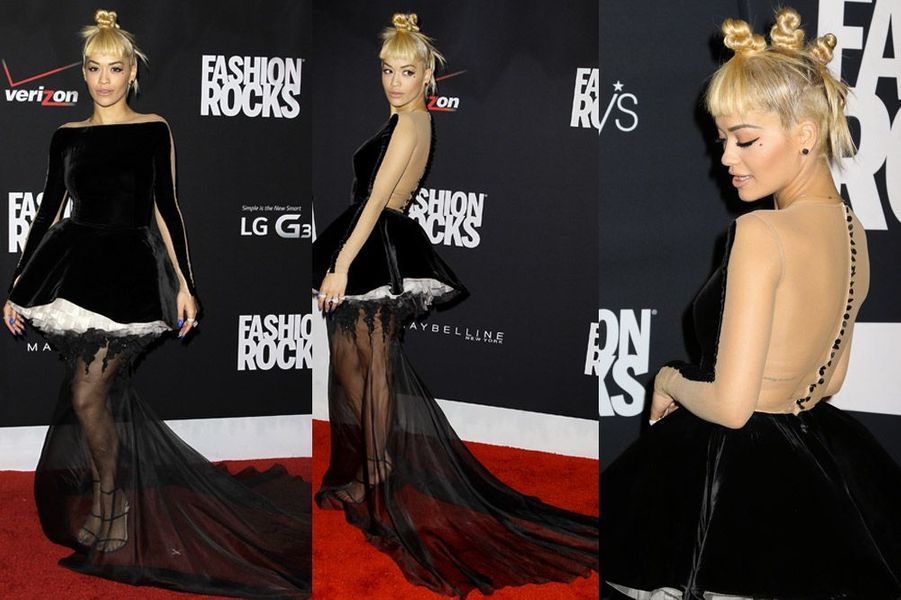 La chanteuse Rita Ora dans une robe Stéphane Rolland lors de la soirée Fashion Rocks, à New York, le 9 septembre 2014