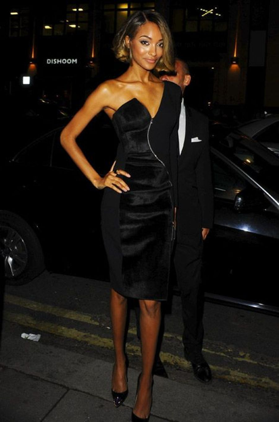 Le top Jourdan Dunn lors d'une soirée en marge de la Fashion Week de Londres, le 12 septembre 2014