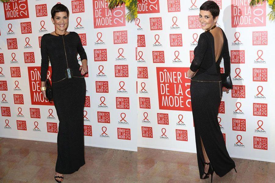 Cristina Cordula au dîner de la mode du Sidaction, le 29 janvier 2015 à Paris