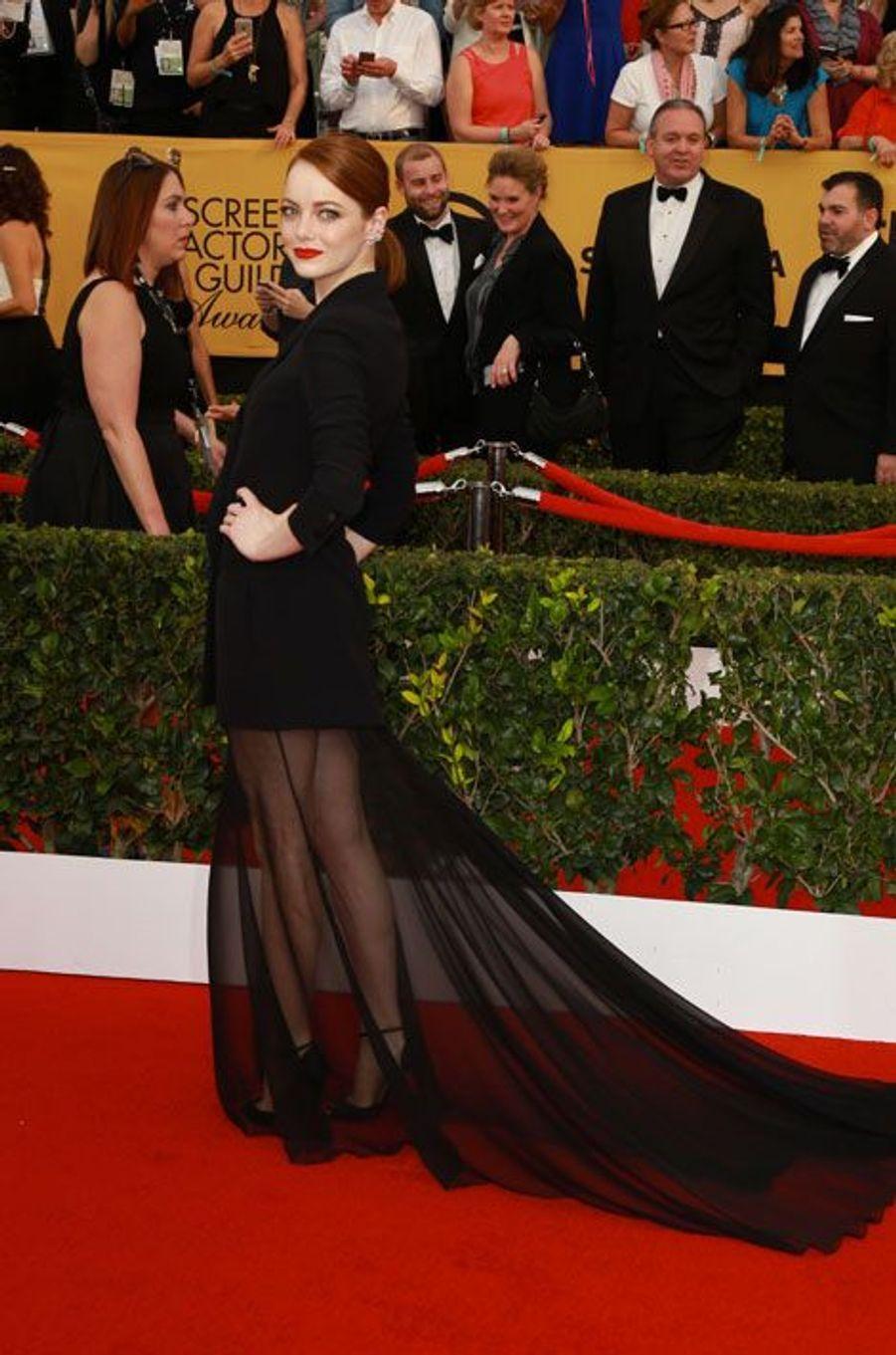L'actrice Emma Stone en Christian Dior lors de la cérémonie des Screen Actors Awards à Los Angeles, le 25 janvier 2015