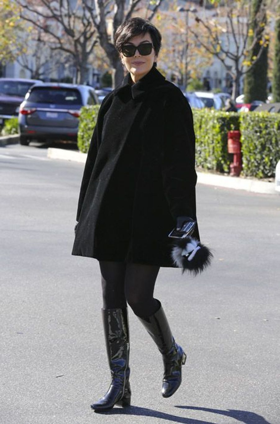 La star de la téléréalité Kris Jenner, très sixties, à Los Angeles, le 27 décembre 2014