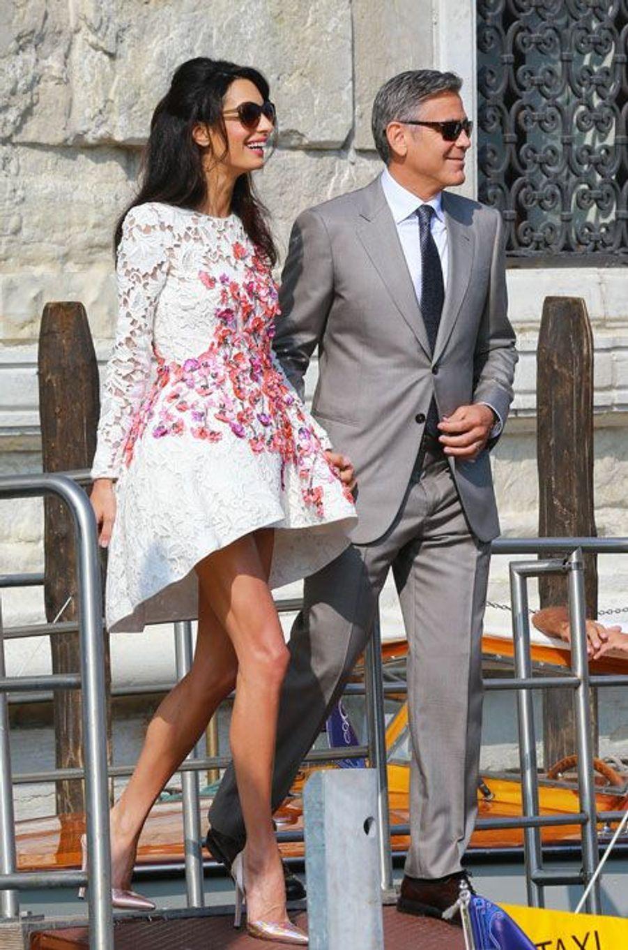 Amal Alamuddin en Giambattista Valli pour son mariage à Venise avec George Clooney, le 28 septembre 2014