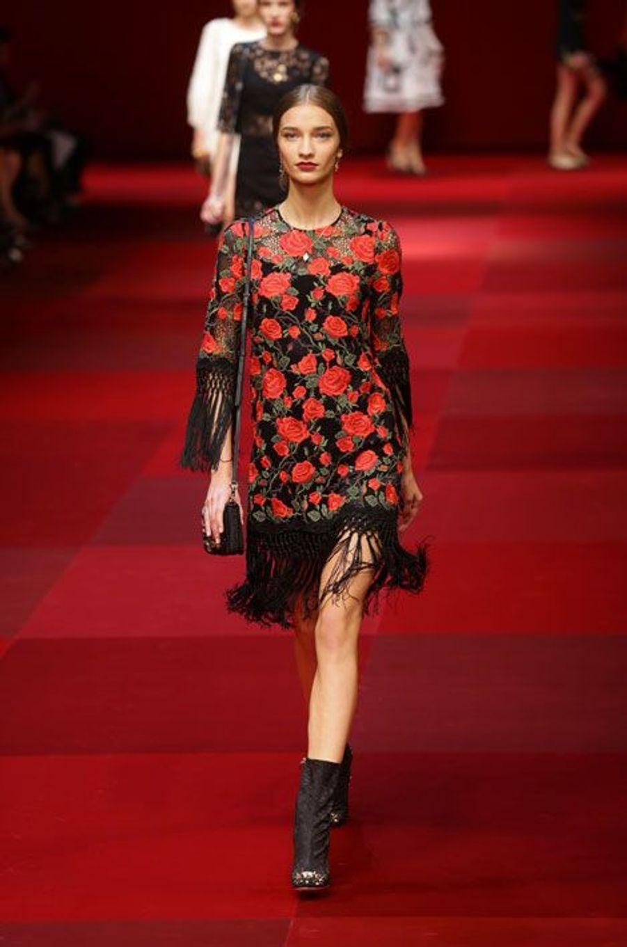 Défilé Dolce & Gabbana pendant la Fashion Week printemps-été 2015 de Milan, le 21 septembre 2014