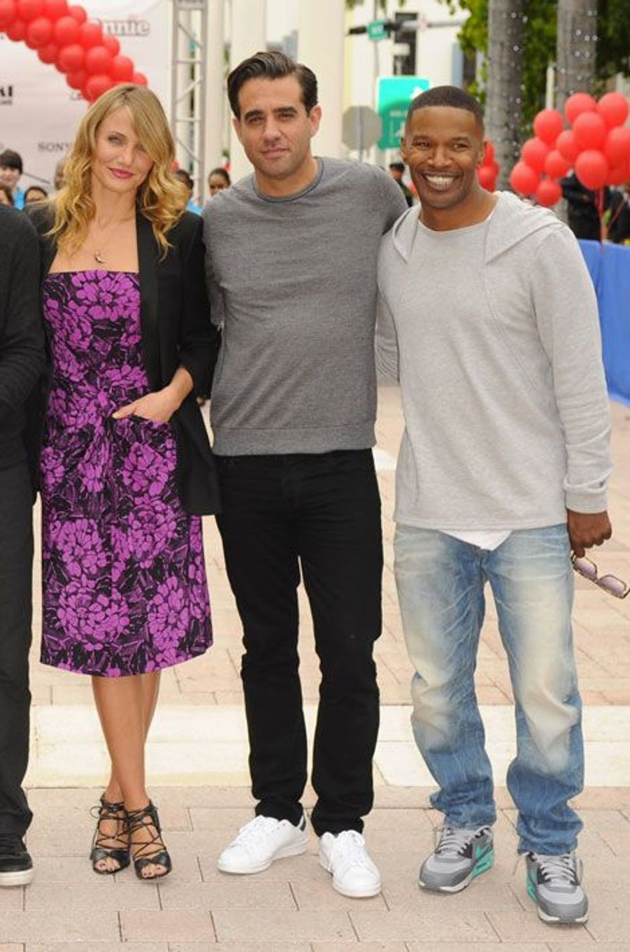 """L'actrice Cameron Diaz en Bottega Veneta pour la promotion du film """"Annie"""", à Miami, le 9 décembre 2014"""