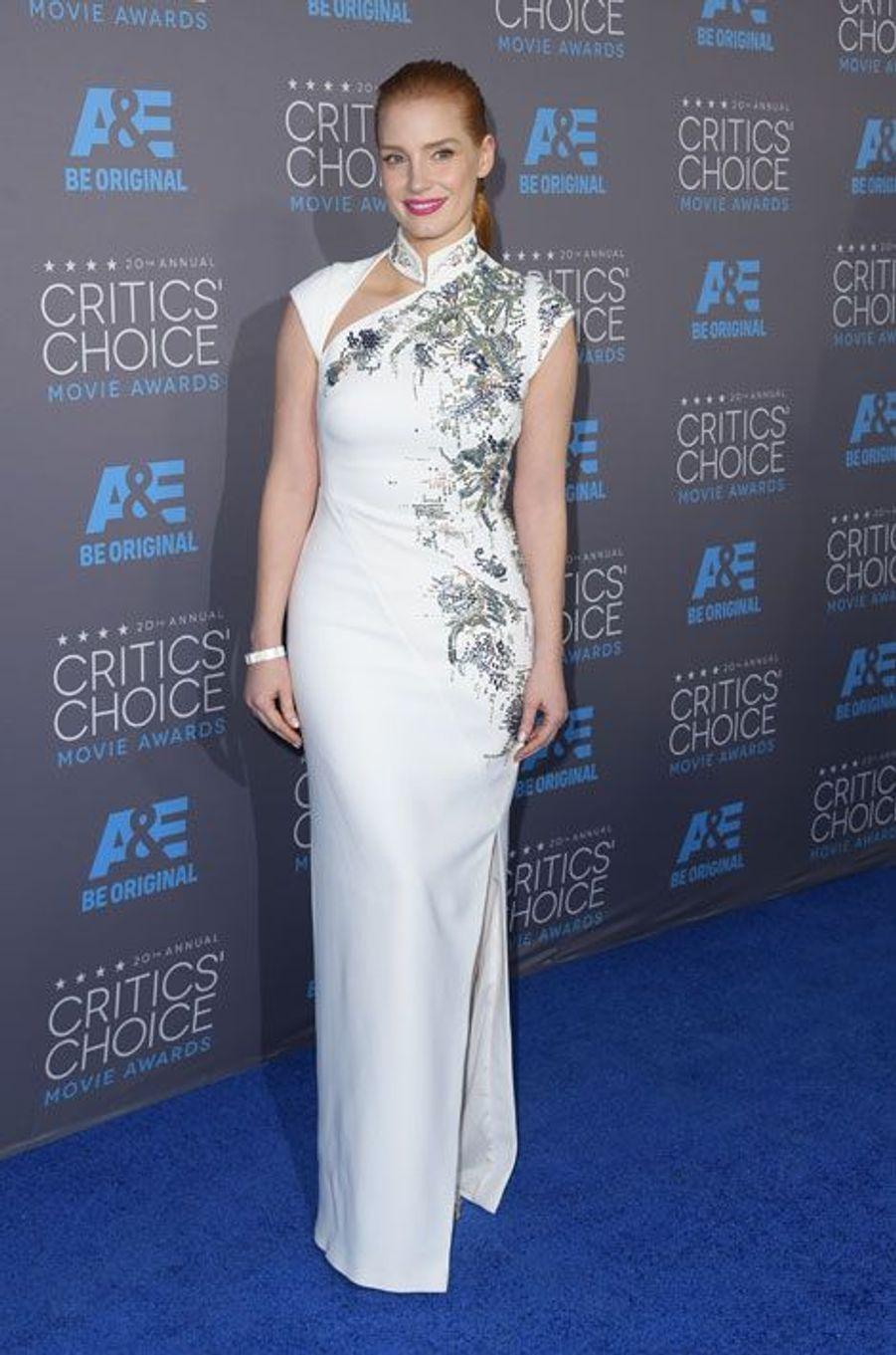 L'actrice Jessica Chastain en Antonio Berardi lors de la cérémonie des Critic's Choice Movie Awards à Los Angeles, le 15 janvier 2015